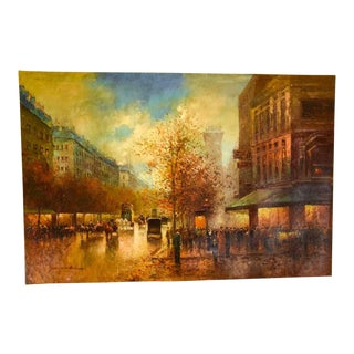 Large Paris Street Scene Oil on Canvas Vintage Signed Impressionist Painting For Sale