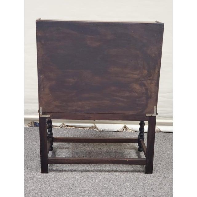 Antique England Oak Barley Twist Drop Front Secretary Desk For Sale - Image 6 of 11