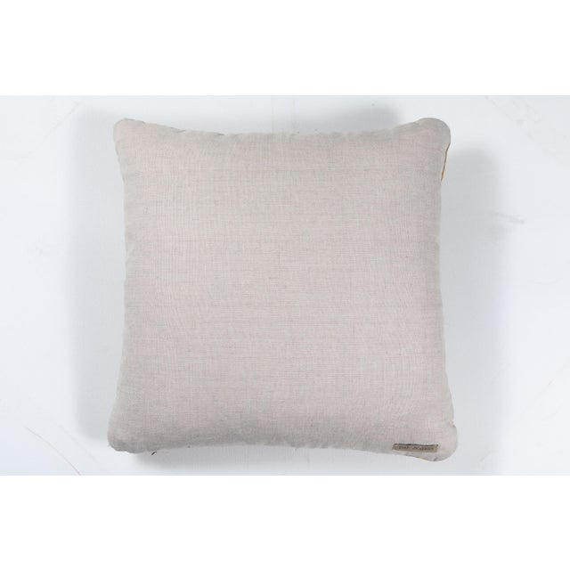 2010s Indian Handwoven Pillow Ocean Stripe Yellow For Sale - Image 5 of 6