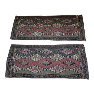 1970s Vintage Handwoven Embroidered Kilim Yastik Rugs - A Pair For Sale