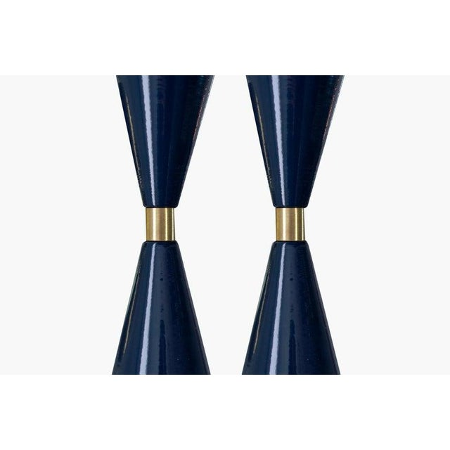"Modern Brass & Midnight Enamel ""Tuxedo"" Wall Sconces - a Pair For Sale - Image 3 of 12"