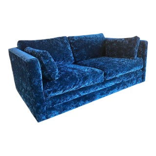 Crushed Blue Velvet Tuxedo Loveseat For Sale