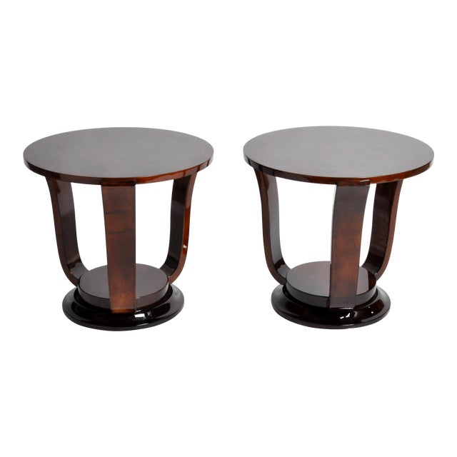 Hungarian Walnut Veneer Round Side Tables - a Pair For Sale