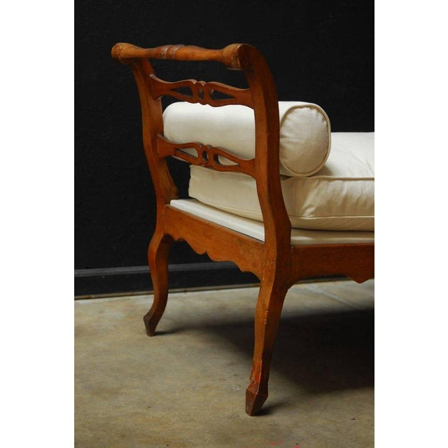 19th Century French Provincial Canvas Upholstered Daybed - Image 5 of 11