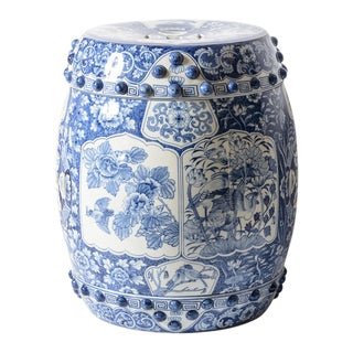 Mid 20th Century Blue & White Ceramic Hand Painted Floral Cartouches, Garden Stool For Sale