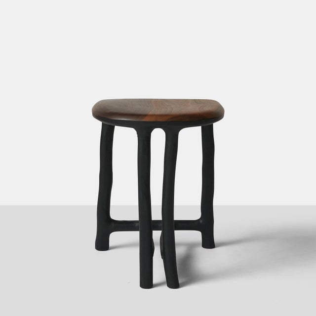 Contemporary Walnut Stool by Valentin Loellmann For Sale - Image 3 of 11
