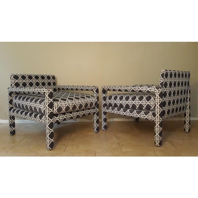 Drexel Mid Century Parsons Op Art Crossed Rope Design Black & White Upholstered Club Chairs - a Pair For Sale - Image 4 of 12