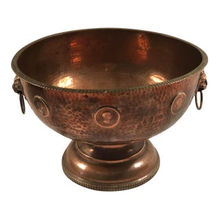 Late 20th Century English Copper Bowl With Lions Heads and Coo S For Sale
