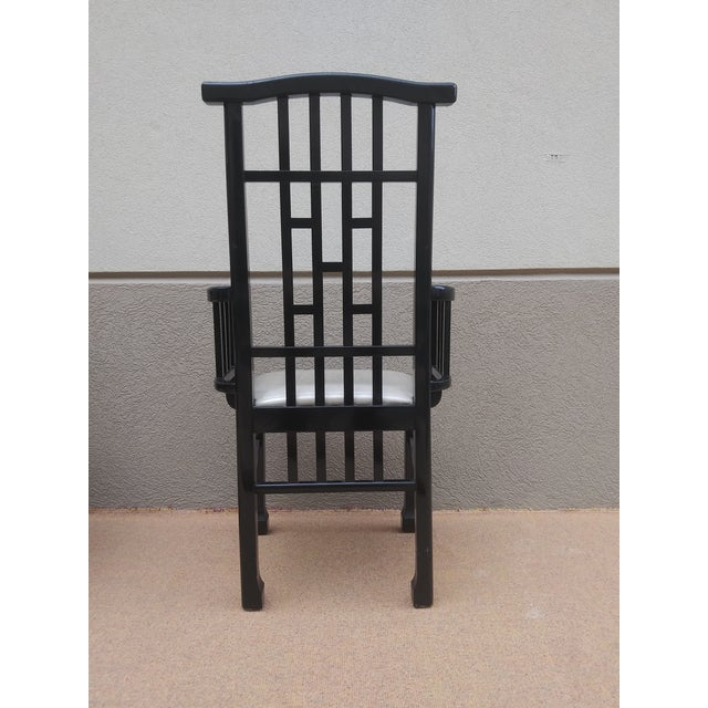 Charles Rennie Mackintosh Style Black Lacquer Asian Flare Chinese Chippendale Fretwork - Set of 6 Dining Chairs For Sale - Image 9 of 13