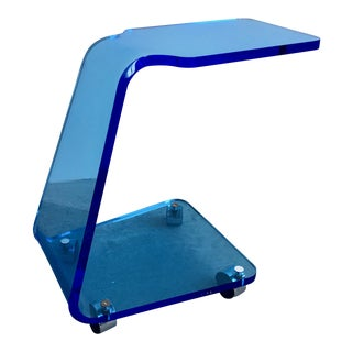 1990s Modern Shlomi Haziza Blue Lucite Side Table on Casters For Sale