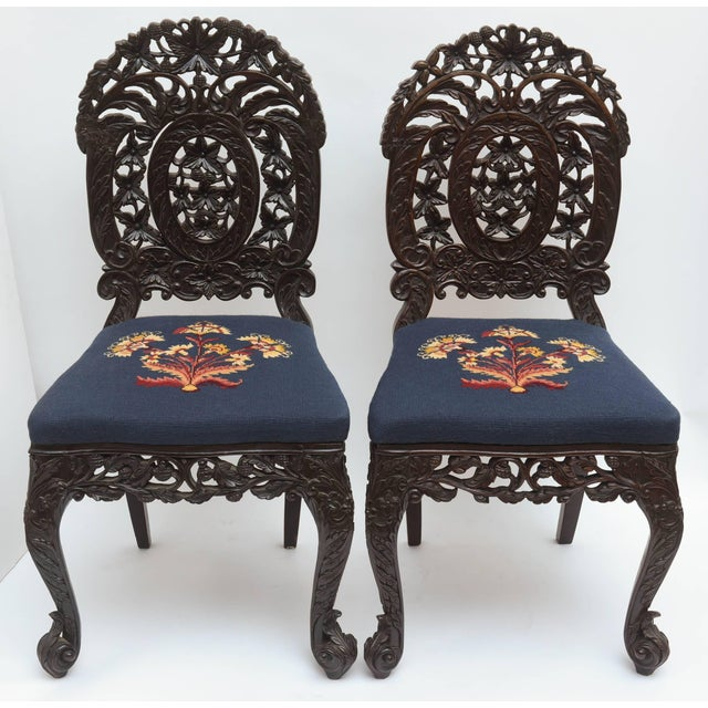 Anglo-Indian Superb Set of Four 19th Century Anglo-Indian Side Chairs For Sale - Image 3 of 11