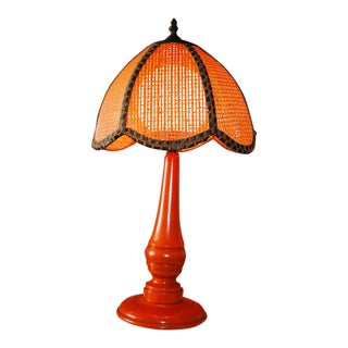 Mid Century Wicker Rattan Bird Cage Shade Orange Table Lamp For Sale