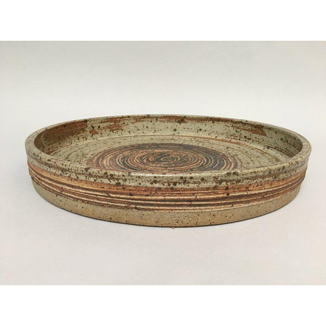 Brown Tue Poulsen Danish Modern Large Stoneware Studio Pottery Tray For Sale - Image 8 of 10