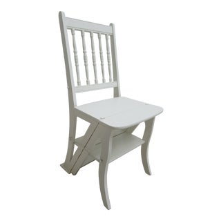 Antique Painted Farm House Step Stool Folding Kitchen Chair For Sale