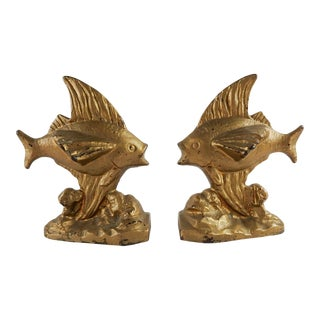 Vintage Cast Iron Goldfish Bookends - a Pair For Sale