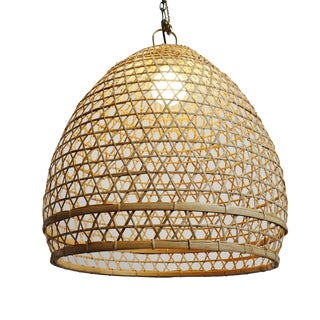 Wicker Fish Basket Lantern Large For Sale