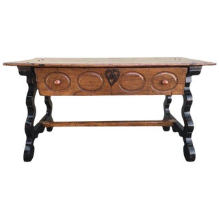 17th Spanish Refectory Table, Writing Desk, One Large Drawer For Sale