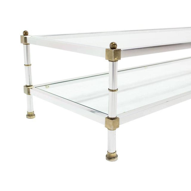 Early 20th Century Mid-Century Modern Chrome Brass Glass Top Large Rectangular Coffee Table For Sale - Image 5 of 7