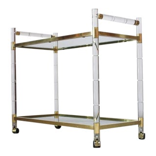 Charles Hollis Jones Lucite Faux-Bamboo and Brass Serving Cart