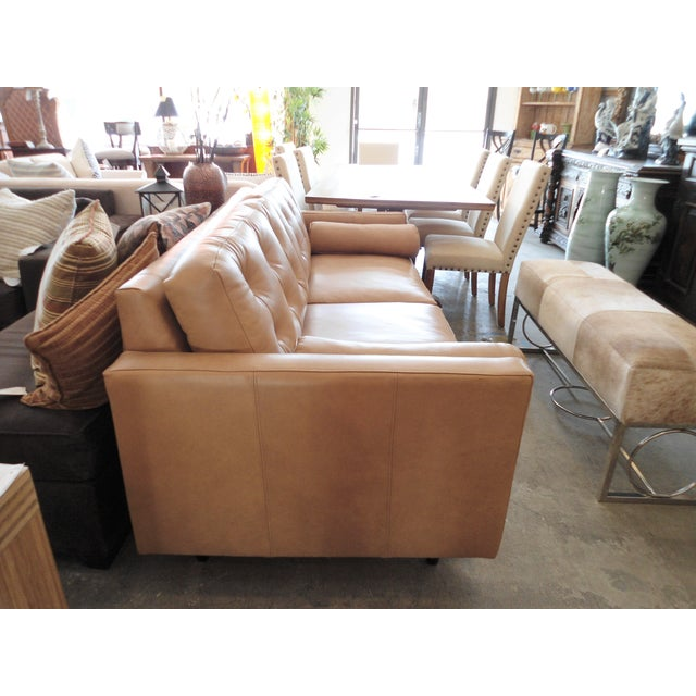 Modern Mocha Leather Sofa - Image 4 of 7