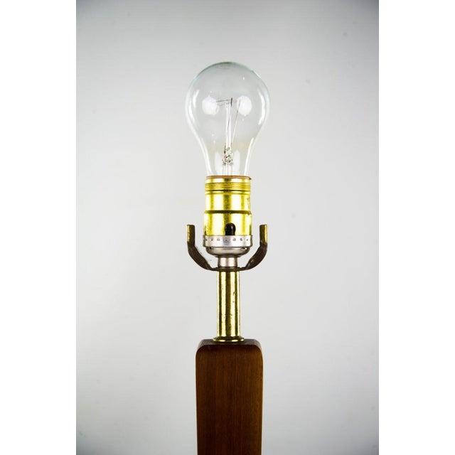 1960s Danish Modern Teak & Brass Table Lamp For Sale - Image 5 of 10