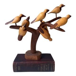Vintage Folk Art Rustic Marblewood Birds in a Tree - 8 Birds, One Tree