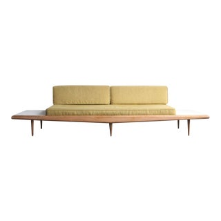 Mid-Century Modern Beige Upholstered Sofa With Built-In Side Tables For Sale
