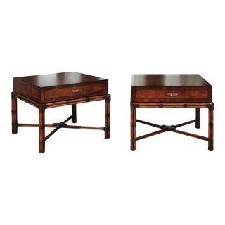 Beautiful Restored Pair of Large-Scale Vintage Campaign End Tables by Henredon For Sale
