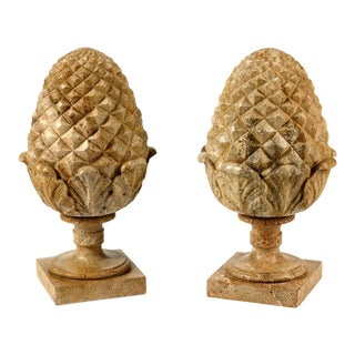 1960s Large French Neoclassical Style Carved Buff Granite Pineapple Finials - a Pair For Sale
