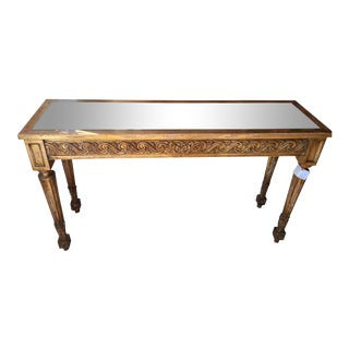 Vintage Louis XVI Style Giltwood Designer Console Table W Mirror Top For Sale