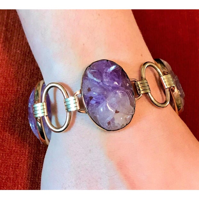 Mid-Century Modern 1950s Engel Brothers Carved Amethyst Bracelet For Sale - Image 3 of 5