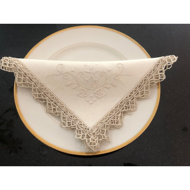 Lace Vintage Italian Linen Napkins Hand-Embroidered Reticella - Set of 12 For Sale - Image 7 of 13