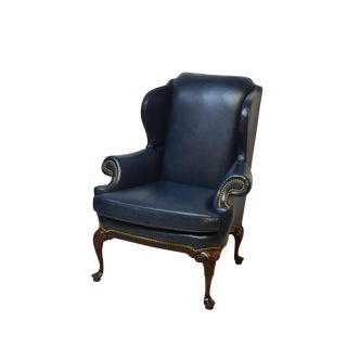 Vintage Hancock & Moore Mahogany Leather Wingback Chair For Sale