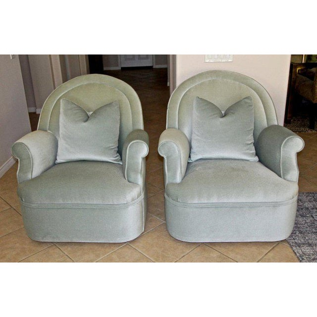 Modern Pair of Custom Mohair Seafoam Green Lounge Club Chairs For Sale - Image 3 of 13