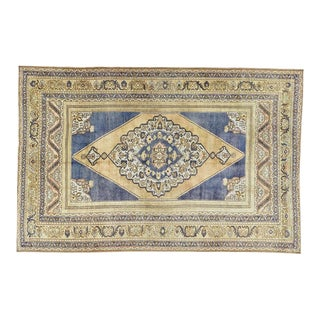 Vintage Blue Turkish Area Rug 6' X 10' For Sale