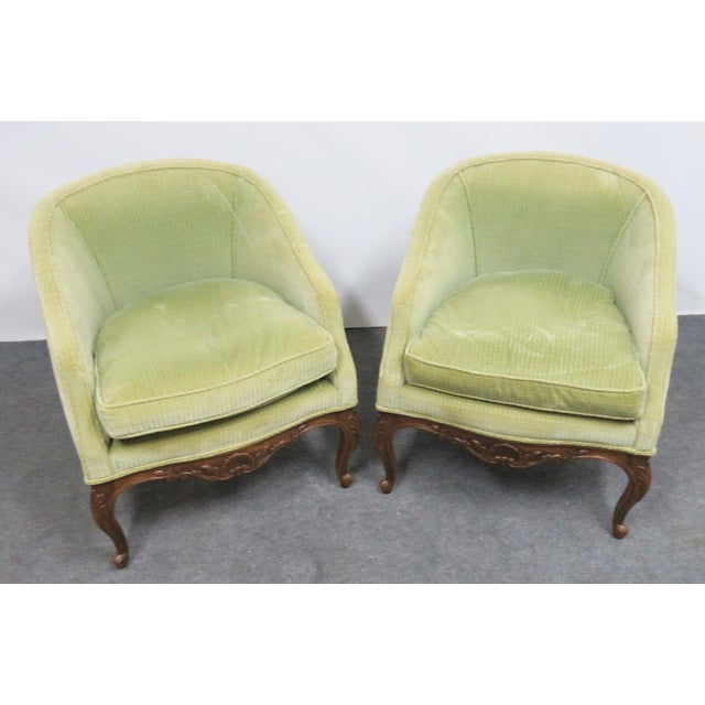 Mid 20th Century Louis XV Fruitwood Carved Club Chairs - a Pair For Sale - Image 5 of 6