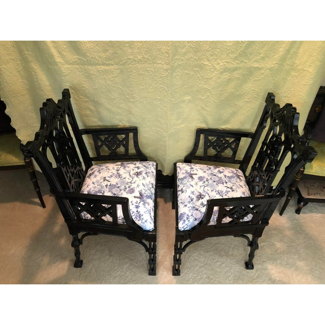 Black Faux Bamboo Pagoda Armchairs- A Pair For Sale - Image 8 of 12