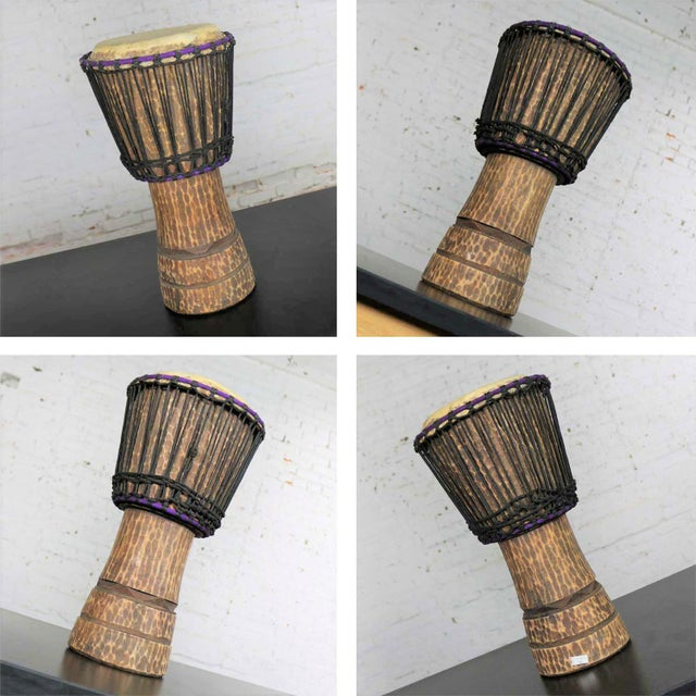 Brown Trio of Tribal Drums Carved Wood and Animal Hide For Sale - Image 8 of 13