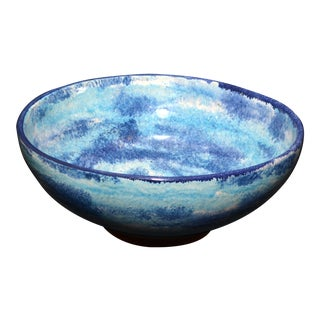 Art Pottery Bowl With Mottled Blue Glaze