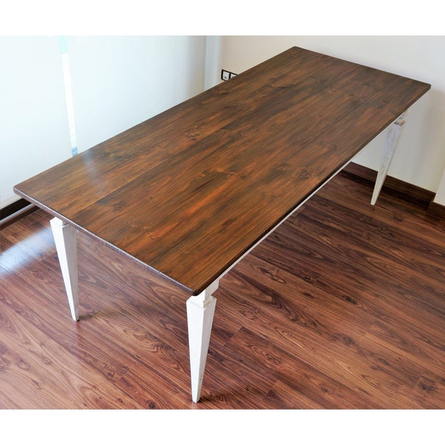 20th French painted dining farm table For Sale In Miami - Image 6 of 9