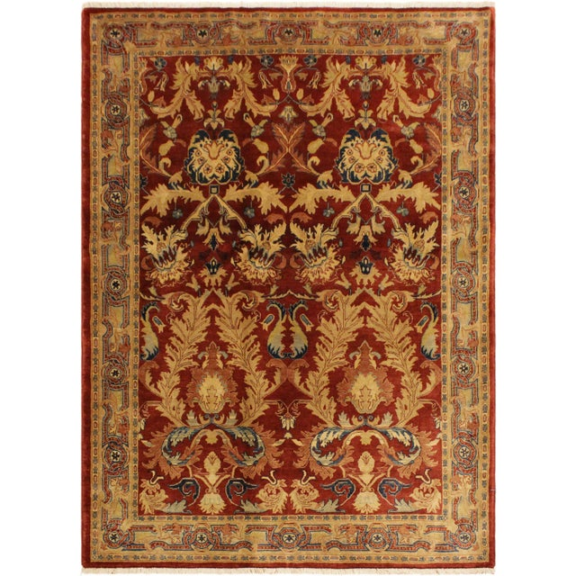 Blue Istanbul Philomen Rust/Tan Turkish Hand-Knotted Rug -4'10 X 6'11 For Sale - Image 8 of 8