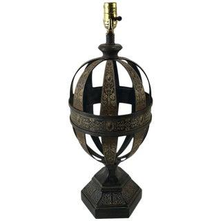 Large Regency Style Tole Pierced Orb Lamp