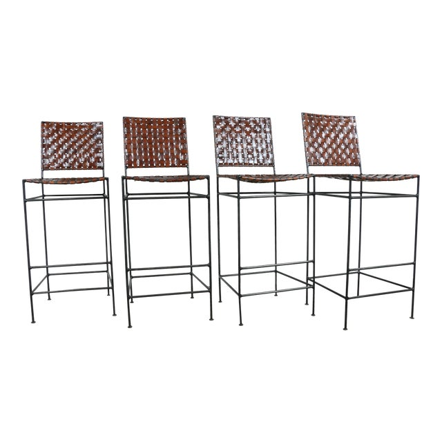 1990s Vintage Leather Bar Stools - Set of 4 - Image 1 of 11
