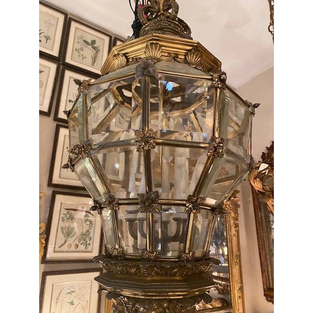 Traditional 1900s Antique French Bronze 6 Light Lantern With Lion Motif For Sale - Image 3 of 9