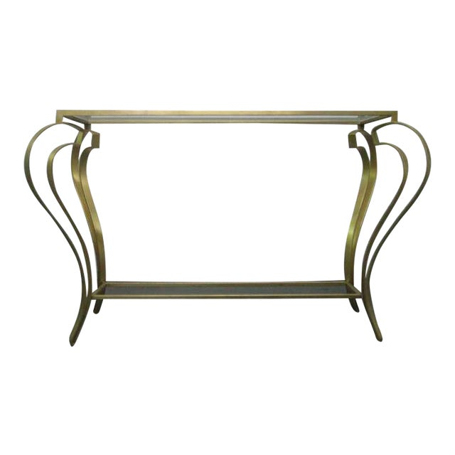 Hollywood Regency Iron Gold Gild Console Table - Image 1 of 6