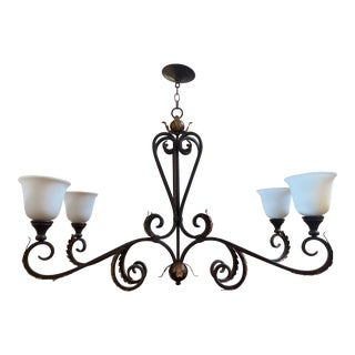 Currey & Company Bronze Leaf Island Four Light Chandelier For Sale
