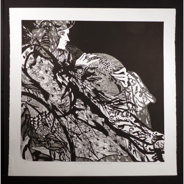 "Contemporary Susan B. Hale Kemenyffy ""Portrait of Janel : Mirror Away"" Signed Vintage Linocut Unframed For Sale - Image 3 of 8"