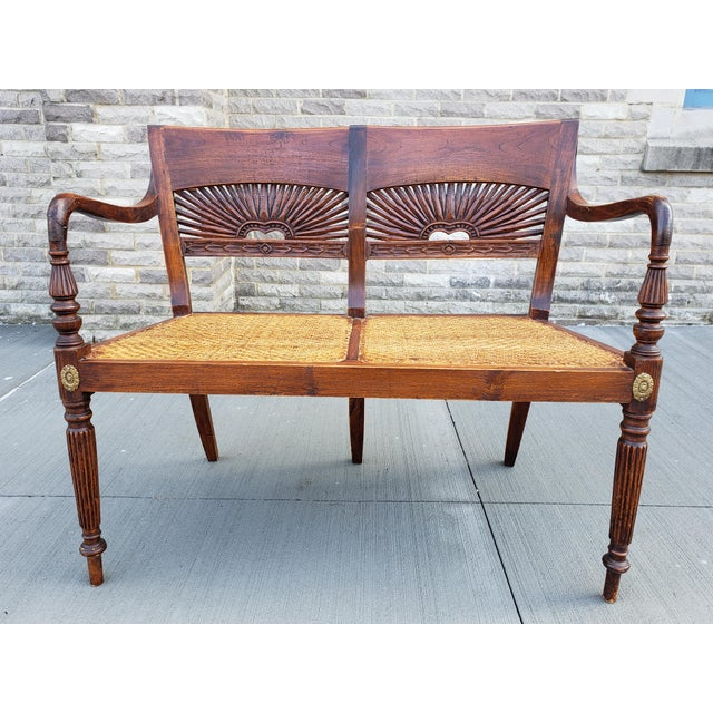 Antique Carved Wood & Caned Settee For Sale - Image 13 of 13