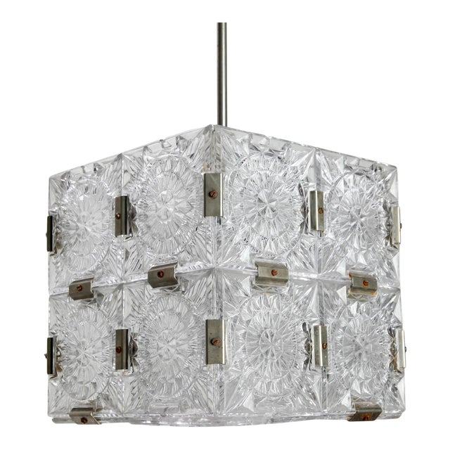 Mid Century Glass Cube Pendant Light in the Style of Kalmar For Sale