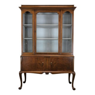 Vintage Walnut Queen Anne Petite China Cabinet W Painted Interior For Sale